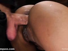 Ebony whore dominated in merciless BDSM hardcore scenes