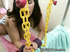 Tied Up Brunette Teen Mounted And Facial In Bathroom