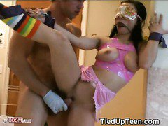 Brunette Teen Blind Folded Gagged Tied Up And Fucked