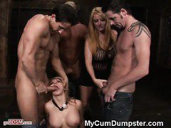 Blonde Slut Tied Up And Dominated At BDSM Gangbang