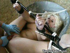Blonde Teen Tied Up And Fucked Hard In A Barn