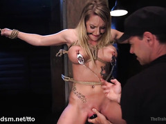 Fantastic sexual training for a blonde slave with big tits