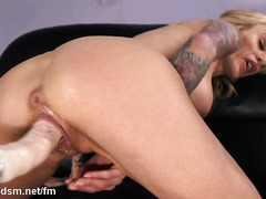 Solo fuck machine orgasms for the busty milf