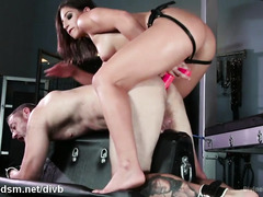 Dominant whore anal fucks her male slave merciless