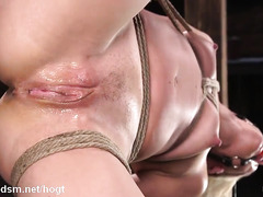 Submissive blonde gagged and pussy fucked in brutal modes