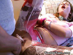 Brunette Teen Tied Up And Gagged While Fucked On Bed