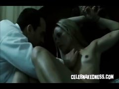 Celeb Maria Bello bare breasts and tied up in bed perky boobs