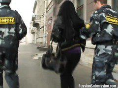 A Russian brunette gets tortured and humiliated by police officers