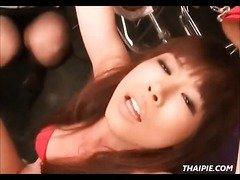 Asian Made To Orgasm Through Red Panties