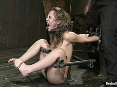 Brunette withstands throat fucking and a painful session of tickle torture