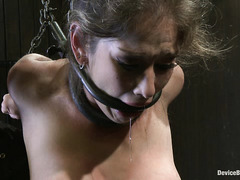 Poor blonde is bound, whipped, double penetrated and forced to cum