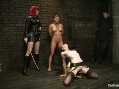Goddess Soma and her assistant have fun breaking down two pathetic slaves