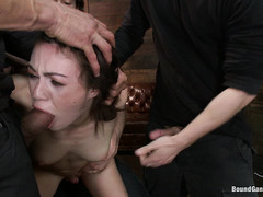 Petite brunette Tiffany Doll is forced to take the cocks of five guys