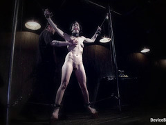 Elise Graves in an extreme bondage scene featuring lots of clothespins