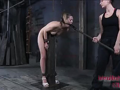 A bound blonde is subjected to severe punishment with no reprieve