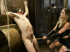 Seductive Mistress Felony doesn't allow her captive a pain-free moment