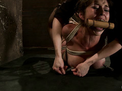 Blonde vixen Felony is hogtied, hoisted into the air and made to cum hard