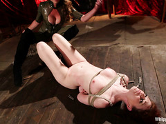 A gorgeous redhead gets her luscious body whipped and clipped by a Domme