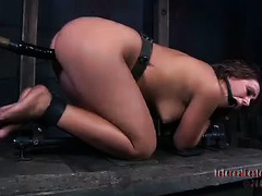 A bound cutie has to go through a vicious caning, whipping and pounding