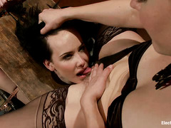 Brunette slut Katie St. Ives screams as she's shocked and teased