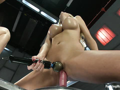 Courtney Taylor and Kendall Karson get their holes fucked by machines