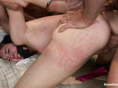 Coral Aorta's date culminates in a hardcore gangbang with double stuffing