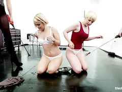 Bound blondes Alani Pi and Ash Hollywood scream as their bodies are shocked