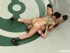 Gorgeous girls wrestle and fuck for a chance to pussy screw the losers
