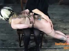 A stunning blonde is spanked repeatedly until her pale ass is red and bruised