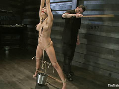 Beretta James is tied up and tortured with clothespins, a whip and clamps