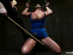 Busty babe Mia Lelani is tied up and whipped, gagged and fucked hard