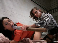 Tia Lang has her asshole stretched wide and violated while in jail