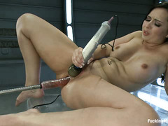 Angell Summers gets fucked by machines so good, she cries in pleasure