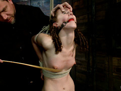 Masochist Bonnie Day screams as her body is whipped, caned and made to cum