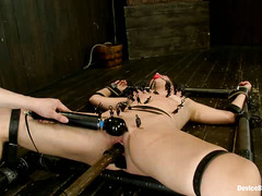 Bryn Blayne is tied to a metal frame and abused with clips and whips