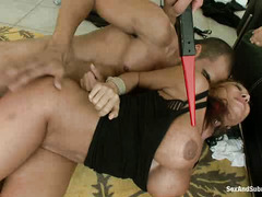 Ava Devine and Sara Jay have each of their holes fucked by some bad guys