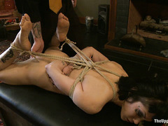 Asphyxia Noir is bound and forced to cum over and over while whipped