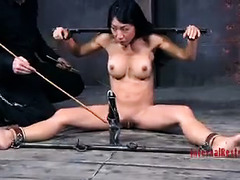 A beautiful Asian beauty is restrained and made to scream while cumming
