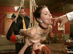 Slaves Lilla Katt and Krysta Kaos are fingered, fucked and whipped