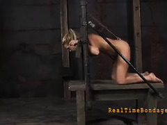 A helpless blonde screams in agony as her body is ruthlessly abused