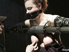 Iona Grace is restrained for hot wax torture, caning and forced orgasms