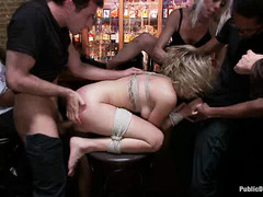 Major slut Lia Lor gets her holes fucked hard by strangers at a crowded bar