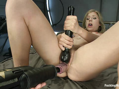 Chastity Lynn shouts in pleasure as dildos take both of her greedy holes