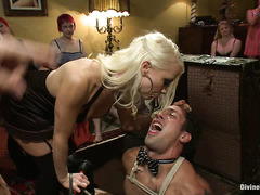 Three studs are used and abused by dozens of horny and ruthless women