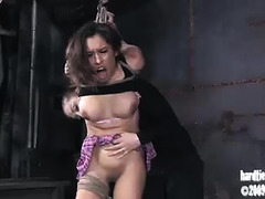 A tan-skinned princess screams and begs for orgasm after torture