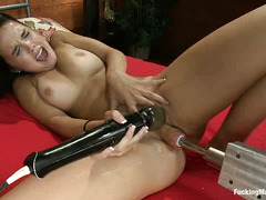 Dillon experiences her first orgasms at the hands of a fucking machine