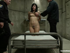 Tori Lux is double stuffed and mouth fucked by some crooked cops