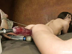 Tiffany Doll uses the largest dildos for her fucking machine session