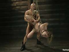 Chastity Lynn gets dominated by two Doms who work over her body