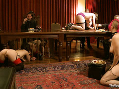 Gorgeous slaves are ravished during this huge Thanksgiving orgy